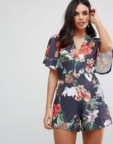 Oh My Love Kimono Romper In Floral Print