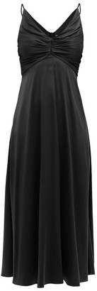 Zimmermann Ruched Silk-blend Satin Midi Dress - Black