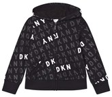DKNY Black and White All Over Logo Print Hoodie