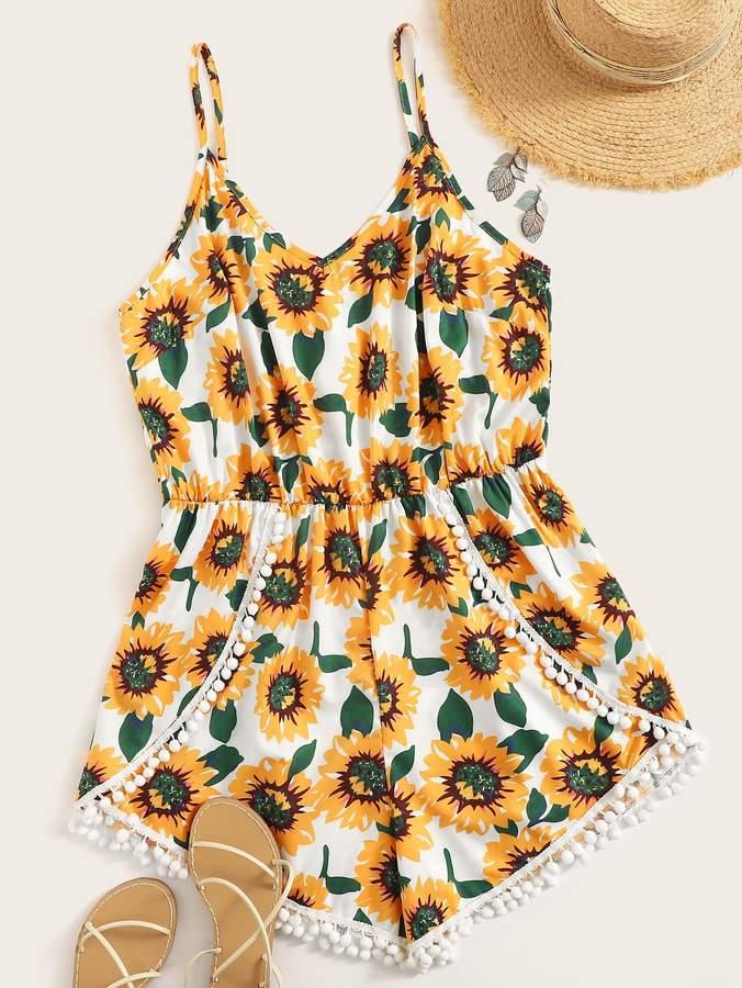 Shein Plus Floral Print Pompom Trim Cami Romper