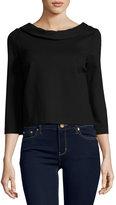 Three Dots Jasmine 3/4-Sleeve Top, Black