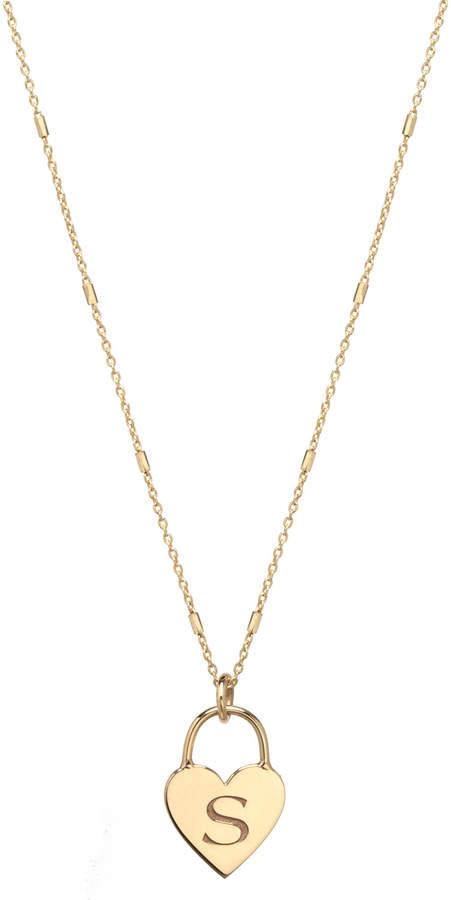 41666e1c1df4e Zoe 14k Small Engraved Initial Heart Padlock Necklace