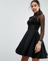 Asos Mini Skater Dress with Lace and Dobby Mesh Bodice