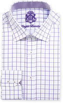 English Laundry Large Windowpane-Check Dress Shirt, Purple/White