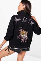 boohoo Tilly Tiger Embroidered Oversized Denim Jacket