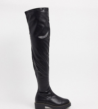 ASOS DESIGN Wide Fit Kate flat over the knee boots in black