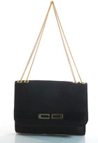 Christian Dior Dark Brown Canvas Leather Trimmed Gold Over Evening Bag