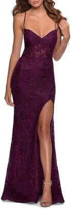 La Femme Strappy Back Lace Trumpet Gown