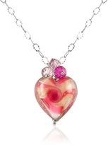Murano House of Vortice - Pink Glass Swirling Heart Sterling Silver Necklace