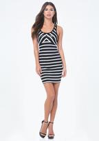 Bebe Logo Striped V-Strap Dress