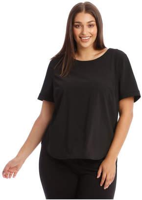 Basque Short Sleeve Top In Black