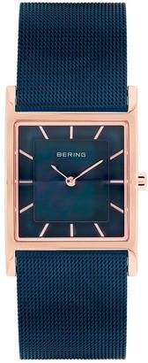 Bering Women's Classic Rose Gold Tone Tank & Blue Mesh Watch - 10426-367-S