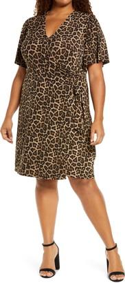 MICHAEL Michael Kors Animal Print Wrap Front Short Sleeve Dress