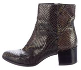 Brian Atwood Embossed Pointed-Toe Ankle Boots