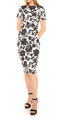 Alexia Admor Scuba Floral Print Midi Sheath Dress
