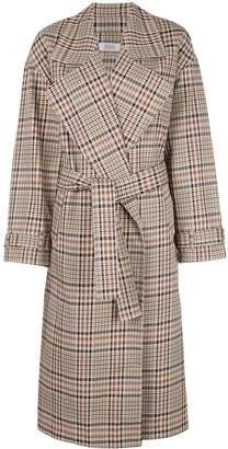 Nomia plaid pattern trench coat