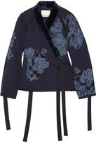 3.1 Phillip Lim Floral-appliquéd Velvet-trimmed Cotton Jacket - Midnight blue