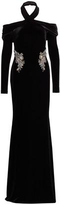 Badgley Mischka Velvet Embellished Draped Halter Gown
