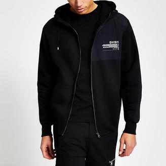River Island DVSN black colour blocked zip up front hoodie