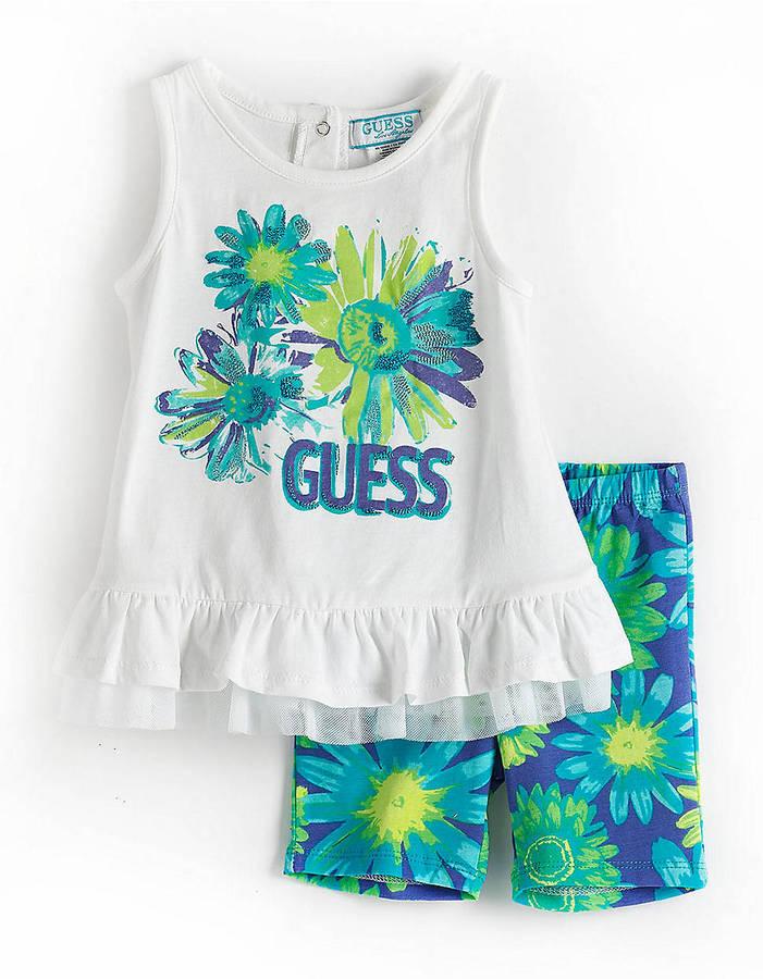 GUESS Girls 12-24 Months Flower Tank Top Set