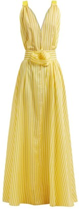 By. Bonnie Young - Batisse Yellow Stripe V-neck Maxi Dress - Womens - Yellow Multi