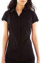 JCPenney Worthington® Short-Sleeve Button-Front Shirt - Petite