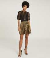 Thumbnail for your product : Reiss ATHENA LACE DETAILED MINI DRESS Black/Gold