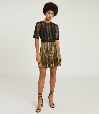Reiss Athena - Lace Detailed Mini Dress in Black/gold