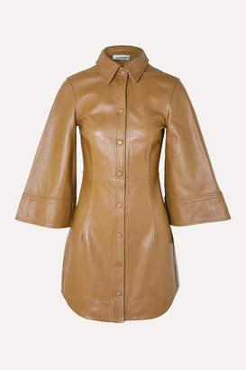 Ganni Leather Mini Dress - Beige
