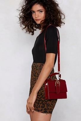 Nasty Gal Womens Burgundy Buckle Crossbody Bag in Faux Leather