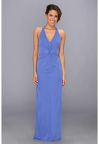 ABS by Allen Schwartz Deep V-Neck Gown w/ Vertical Gathering