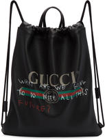 Gucci Black Coco Capitán Edition fake Drawstring Backpack