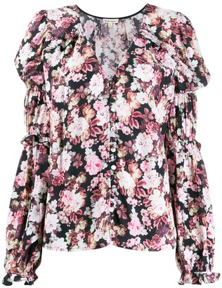 For Love & Lemons Gathered Sleeves Floral Blouse
