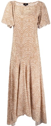 De La Vali Animal-Print Flared Maxi Dress
