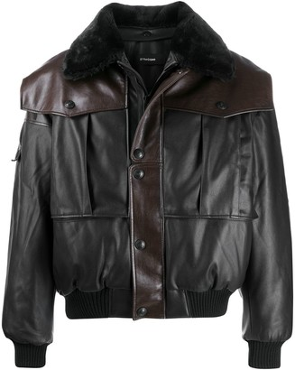 Gr Uniforma Faux Leather Bomber Jacket