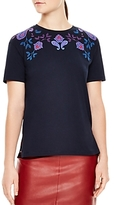 Sandro Brian Floral & Paisley Embroidered Tee