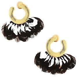 Gas Bijoux Women's 24K Goldplated & Feather Front-Facing Hoop Earrings