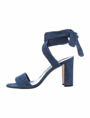 Manolo Blahnik Suede Sandals Blue