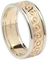 BORU Ladies Celtic Knot Irish Wedding Ring 14k Two Tone Gold Size 6.5