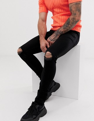 Asos Design DESIGN super skinny jeans with knee rips-Black