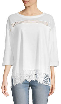 French Connection Lace Drape Top