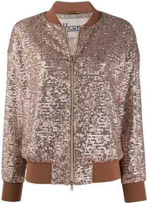 Herno Sequin Embellished Bomber Jacket