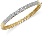 Macy's 18k Gold over Sterling Silver-Plated or Silver-Plated Diamond Accent Hinge Bangle Bracelet