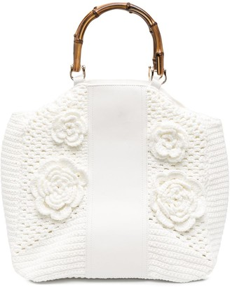 la milanesa Floral-Embroidered Tote Bag