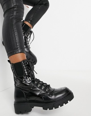 Replay Chunky Lace up Shiny Boots in Black