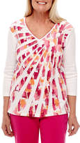 Alfred Dunner Reel It In 3/4 Sleeve Starburst T-Shirt