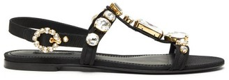 Dolce & Gabbana Crystal-embellished T-bar Sandals - Black Silver