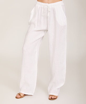 Ornella Paris Women's Casual Pants WHITE - White Waist-Tie Linen Wide-Leg Pants - Women & Plus