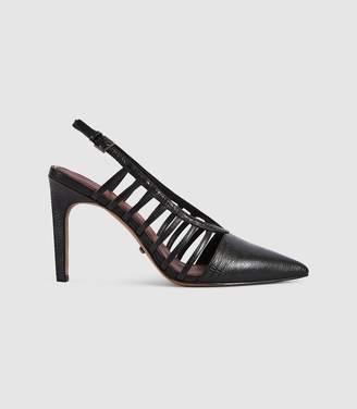 Reiss Daphne - Leather Slingback Heels in Black