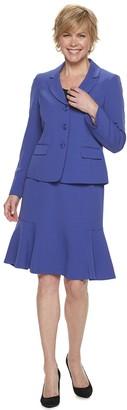 Le Suit Women's Crepe Jacket & Flounce-Hem Skirt Suit
